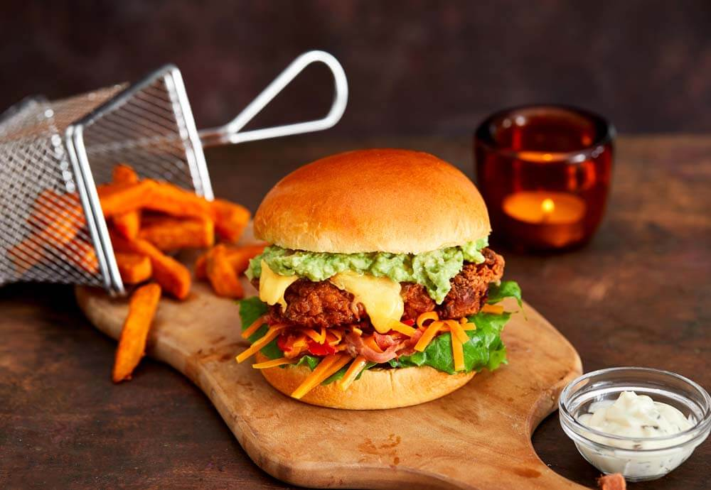 fried pumpkin chicken brioche burger