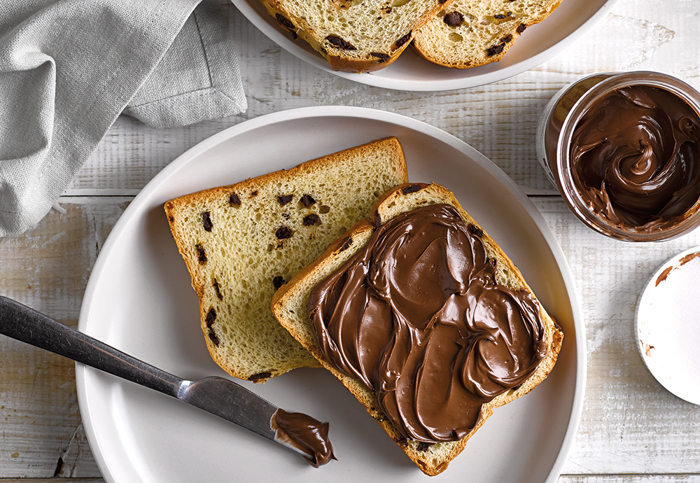 nutella on brioche chocolate chip loaf