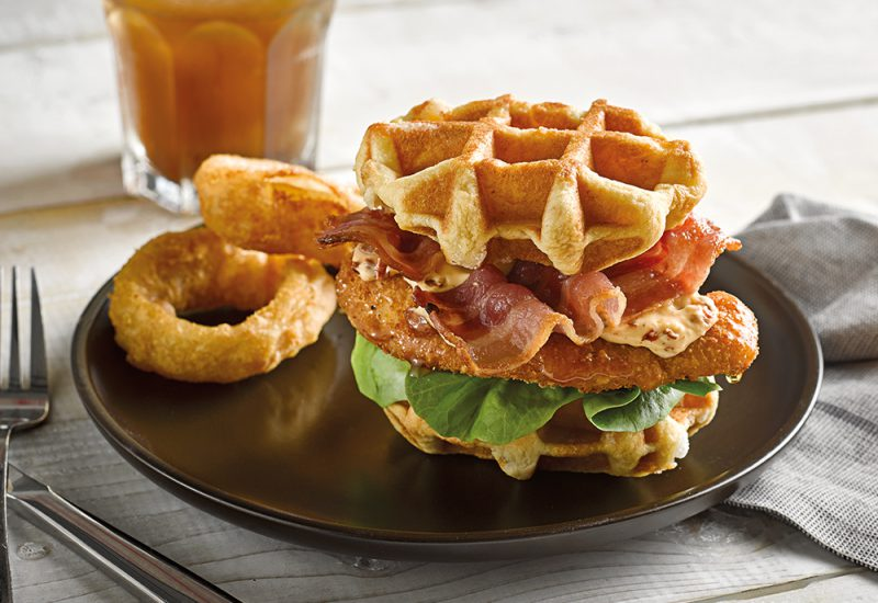 chicken waffle burger