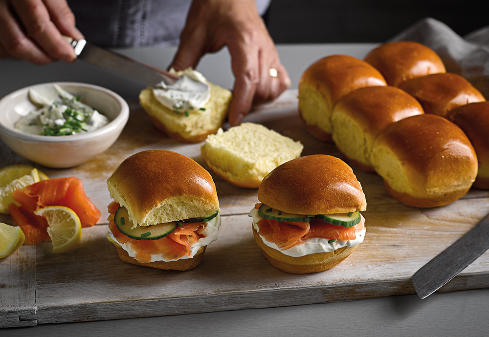 smoked salmon and cream cheese brioche sliders