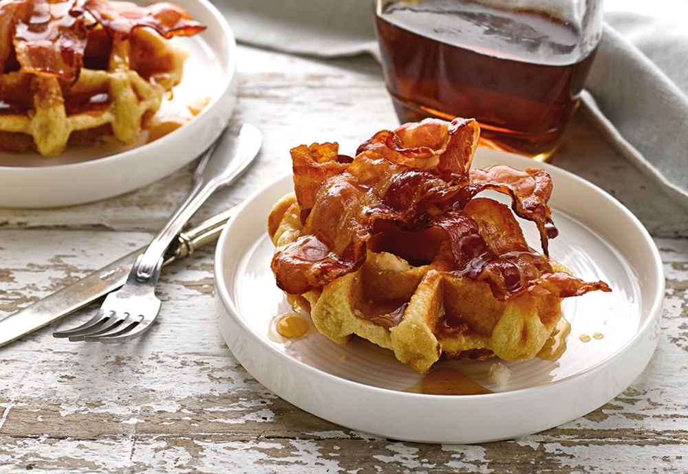 bacon and syrup brioche waffles