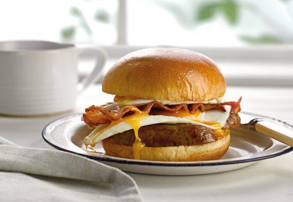 sausage egg and bacon brioche burger bun