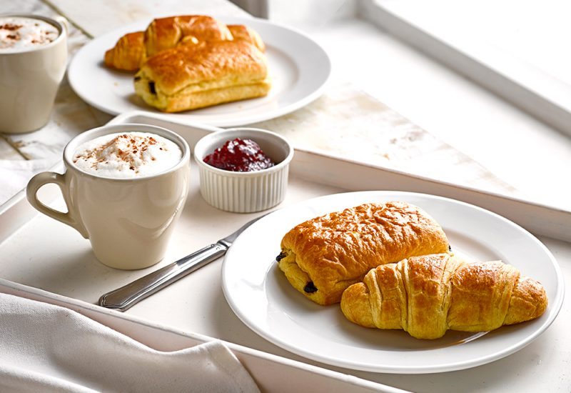 croissant and chocolate croissant breakfast